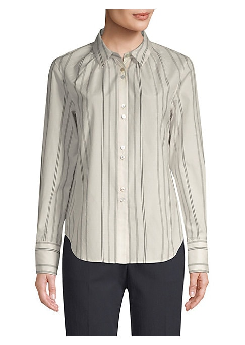 """Image of A gathered neckline puts a feminine twist on this classic pinstripe shirt. Point collar. Long sleeves. Button cuffs. Button front. Curved hem. Silk/wool. Dry clean. Made in USA. SIZE & FIT. Classic fit. About 25.5"""" from shoulder to hem. Model shown is 5'1"""
