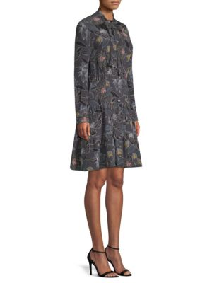 BECKEN Floral Silk Tiered Shirt Dress in Grey