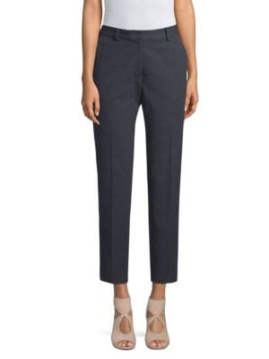 BECKEN Flat Front Trousers in Navy