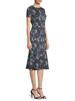 BECKEN Stretch Silk Floral Midi Dress in Navy