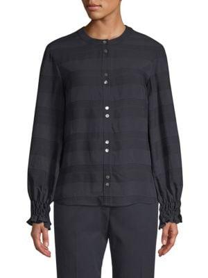 BECKEN Textured Striped Shirt in Navy