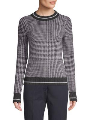 BECKEN Prince Of Wales Mockneck Sweater in Black White