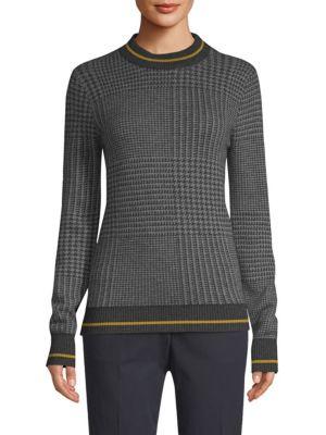 BECKEN Prince Of Wales Mockneck Sweater in Grey