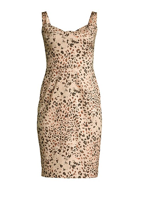 "Image of A modern leopard print enhances this knee-length sheath dress. Sweetheart neckline. Sleeveless. Concealed back zip closure. Squareback. Stretch lining. Cotton/elastane. Dry clean. Made in USA from Spanish fabric. SIZE & FIT. Sheath silhouette. About 42"" f"