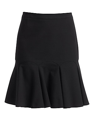 """Image of A gathered flouncy hem adds an elegant swing to this straight-fit skirt. Back zip closure Viscose/polyamide/elastane Dry clean Imported of Italian fabric SIZE & FIT Fit-&-flare silhouette About 20"""" from shoulder to hem Model shown is 5'10 (177cm) wearing"""