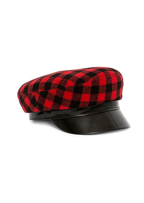 """Image of Chic cotton and leather majorette hat in a classic buffalo plaid pattern. Cotton/leather. Lined. Made in Italy. SIZE. Brim width, 10.25""""."""