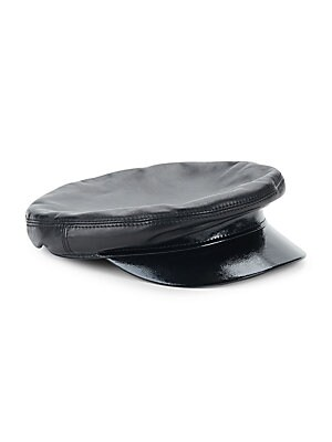 "Image of Chic majorette hat with a shiny leather brim and smooth leather construction. Leather Lined Made in Italy SIZE Brim width, 10.25"". Soft Accessorie - Millinery. Avec La Troupe. Color: Black. Size: Medium."