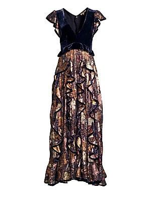 a59a4e40b67c Rebecca Taylor - Floral Silk Velvet Dress - saks.com