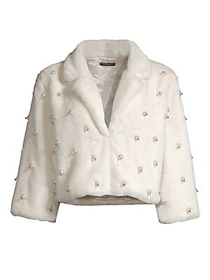 "Image of Soft faux fur cropped jacket flaunts pearl embellishments. Plush shawl collar Three-quarter length sleeves Front hook and eye clasp Pearl embellished finish Lined Polyester Fur type: Faux Dry clean Imported SIZE & FIT Cropped fit About 17"" from shoulder t"