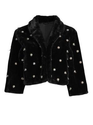 ALBERTO MAKALI Faux Fur Pearled Crop Jacket in Black