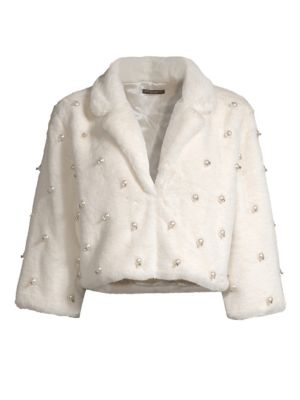 ALBERTO MAKALI Faux Fur Pearled Crop Jacket in Ivory