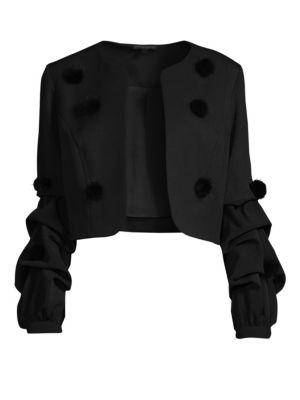 ALBERTO MAKALI Faux Fur Pom-Pom Ruched Sleeve Jacket in Black