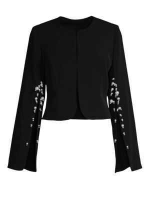 ALBERTO MAKALI Pearl Split-Sleeve Crepe Jacket in Black