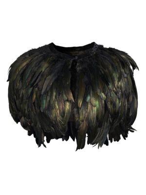 ALBERTO MAKALI Feather Stole in Emerald
