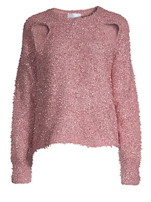 """Image of Unique cutouts at the shoulder add edge to this textured metallic knit sweater. Roundneck Long sleeves Pullover style Lurex/polyester Hand wash Imported SIZE & FIT About 21"""" from shoulder to hem Model shown is 5'10"""" (177cm) wearing US size 4. Contemporary"""