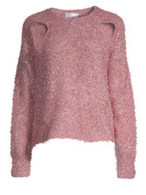 ALICE MCCALL Metallic Cutout Sweater in Rose