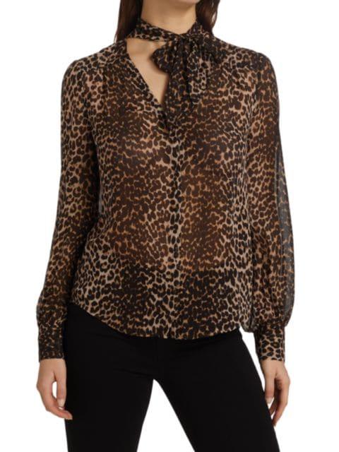 Paige Jeans Cleobelle Leopard Silk V-Neck Blouse   SaksFifthAvenue