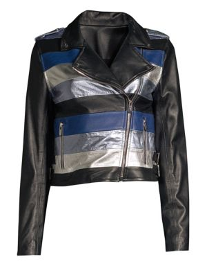 THE MIGHTY COMPANY Stripe Leather Moto Jacket in Black Blue