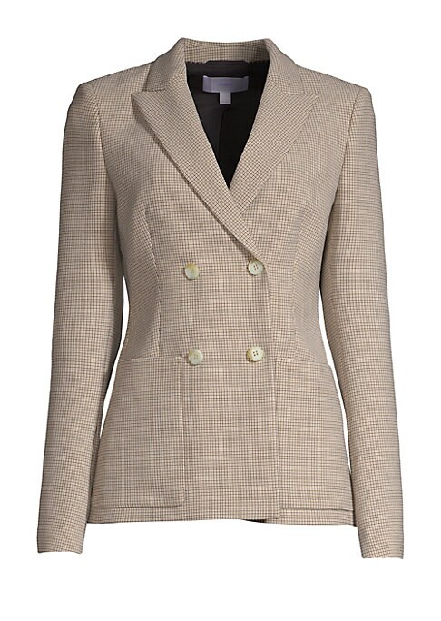 Image of A crisp, two-tone check patterns this double-breasted jacket boasting peak lapels and roomy patch pockets. Peak lapels. Long sleeves. Buttoned cuffs. Double-breasted button front. Waist patch pockets. Lined. Polyester/viscose/elastane. Dry clean. Made in