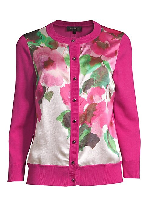 Image of From the Saks It List: Garden Party Florals. Florals bloom on this elegant three-quarter sleeve cardigan crafted from warm merino wool. It's finished with delicate rib-knit trim and a stretch silk lining making it a luxe wardrobe staple. Roundneck. Three-