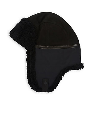 7acbf5d31022a Ugg - Mixed Media Shearling   Faux-Shearling Leather Trapper Hat