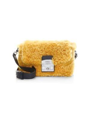 Metropolis Nuvola Shearling Crossbody Bag in Ginestra