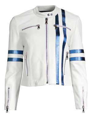 THE MIGHTY COMPANY Racing Stripe Leather Jacket in White Blue