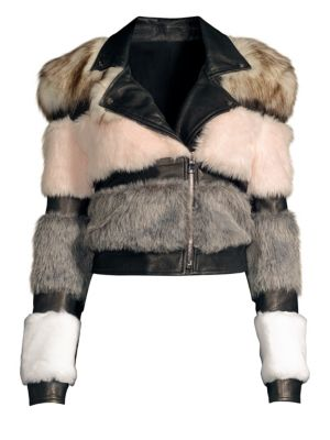 THE MIGHTY COMPANY Bristol Faux Fur & Leather Moto Jacket in Multi