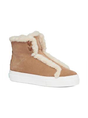 Mei Faux Shearling-Lined Suede Sneakers in Oak Suede