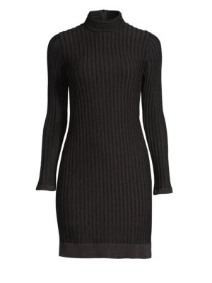 Edita Ribbed Turtleneck Dress, Black