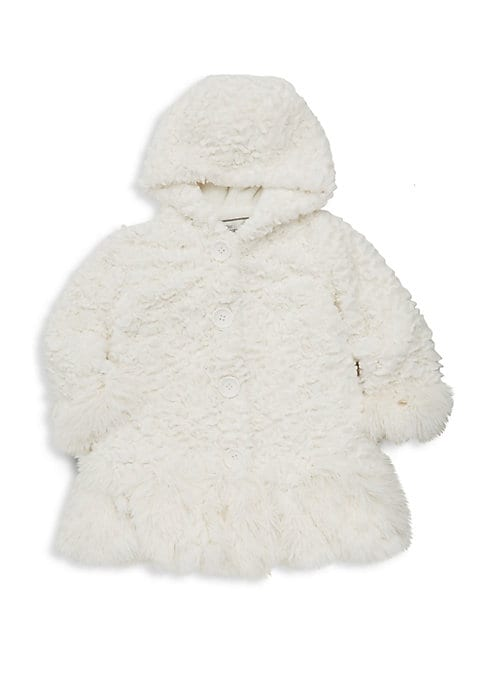 Image of Playful shaggy-trim jacket in allover fluffy faux fur. Attached hood. Long sleeves. Button front. Side seam pockets. Lined. Polyester. Fur type: Faux. Machine wash. Imported.