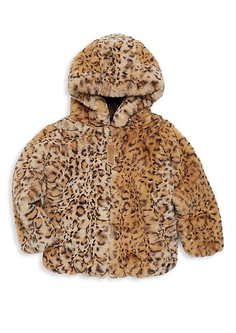 Image of Cozy faux fur jacket with an allover animal print. Attached hood. Long sleeves. Concealed front zip. Waist slip pockets. Lined. Polyester. Fur type: Faux. Machine wash. Imported.