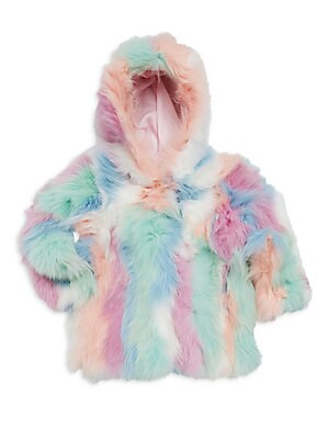 Image of Bright mixed tone hooded coat in luxe fox fur. Attached hood Long sleeves Concealed front hook clasps Lined Fur type: Dyed fox Fur origin: China Dry clean by fur specialist Imported. Children's Wear - Classic Children. Adrienne Landau. Color: Pastel Multi