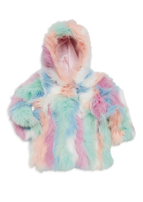 Image of Bright mixed tone hooded coat in luxe fox fur. Attached hood. Long sleeves. Concealed front hook clasps. Lined. Fur type: Dyed fox. Fur origin: China. Dry clean by fur specialist. Imported.
