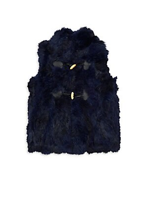 Image of Keep her cozy in this playful vest made of plush dyed rabbit fur with wooden toggles. Stand collar Sleeveless Toggle closure Polyester Fur type: Dyed rabbit Fur origin: China Dry clean by fur specialist Imported. Children's Wear - Classic Children > Saks