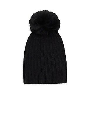 Adrienne Landau - Kid s Fox Fur Pom-Pom Knit Beanie 324e1ce83f85