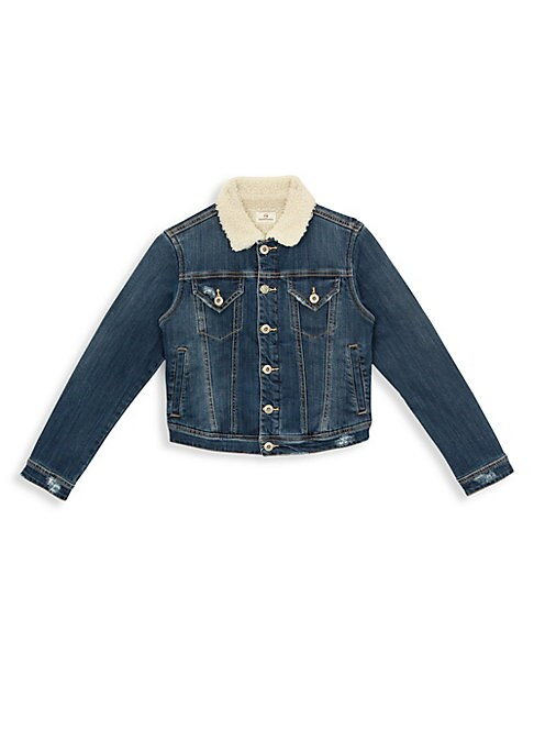 Image of Classic denim jacket updated with a faux shearling collar. Spread collar. Faux shearling spread collar. Long sleeves. Button closure. Flap button pockets at chest. Slip pockets. Fur type: faux. Cotton/viscose/spandex/polyester. Machine wash. Imported.