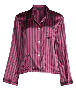 Morgan Lane Ruthie Silk Striped Pajama Top
