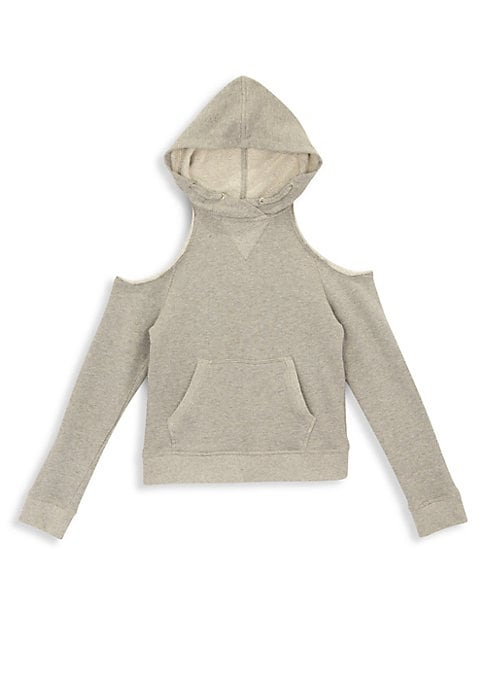 Image of Comfy cotton hoodie with on-trend cold-shoulder styling pairs with sweatpants or jeans. Attached hood. Cold-shoulders. Long sleeves. Kangaroo pocket. Banded cuffs and hem. Pullover style. Cotton. Machine wash. Imported.