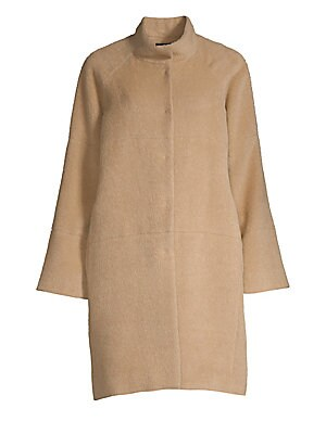 Funnel Neck Alpaca Wool Coat by Sofia Cashmere