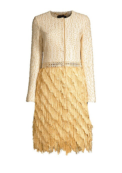 Image of Redefine the ensemble with this glamorous tiered fringe jacket. Crafted with a tweed top, it lends the illusion of an effortlessly sophisticated jacket and skirt ensemble. Roundneck. Long sleeves. Concealed button front. Crochet waist. Tiered fringed skir
