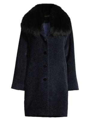 Fox Fur-Trim Wool & Alpaca Boucle-Blend Coat in Navy Black