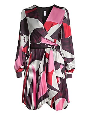 Image of Bold geometric print accentuates this luscious chiffon dress' structural pleats and cinched waist. Surplice V-neck Long peasant sleeves Buttoned barreled cuffs Concealed back zip Self-tie waist Handkerchief hem Accordion pleats Polyester Dry clean Made in