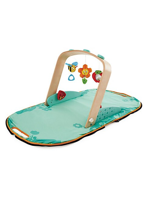 This portable baby gym features a hanging apple, bee and flower that will delight little hands and eyes - and it doubles as a stylish tote bag to carry the gym. Wood/ABS/textile Wipe clean Imported SIZE 23.25\\\