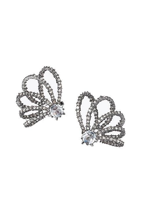 "Image of Beautiful Swarovski hoops orbit these crystal stud earrings. Swarovski crystal. Cubic zirconia. Ruthenium. Post back. Imported. SIZE. Diameter, about 1""."