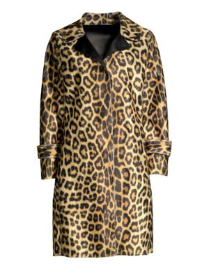 HOUSE OF FLUFF Leopard Faux Fur Car Coat