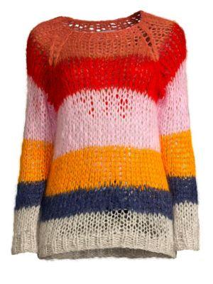 MAIAMI Mohair Multicolored Stripe Sweater in Copper Collar