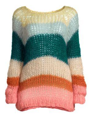 MAIAMI Mohair Multicolored Stripe Sweater in Vanilla