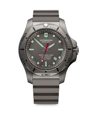 VICTORINOX SWISS ARMY I.N.O.X. Professional Diver Sandblasted Titanium Rubber Strap Watch in Grey