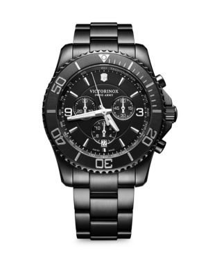 VICTORINOX SWISS ARMY Maverick Pvd Stainless Steel Bracelet Watch in Black